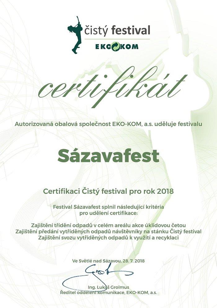 Certifikace Čistý festival Sázavafest