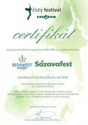 SÁZAVAFEST opět získal certifikát Čistý Festival!