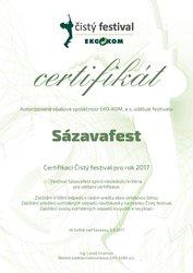 Sázavafest získal ocenění Čistý festival i v roce 2017